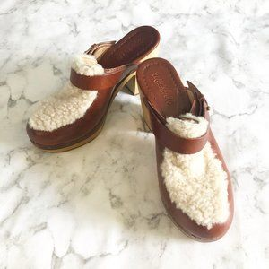 Madewell Mindy Shearling Wooden Clogs Leather 8.5